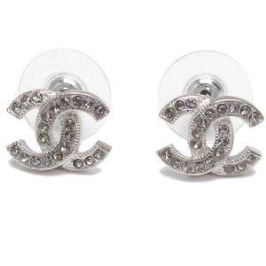 CHANEL Classic Silver CC Swarovski Crystal Studs